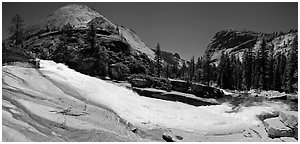 Bend of the Merced River in Upper Merced River Canyon. Yosemite National Park, California, USA. (black and white)
