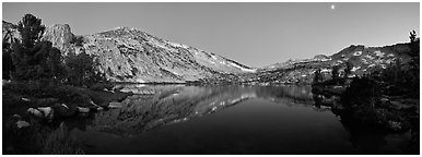 Alpine lake in cirque at dusk, Vogelsang. Yosemite National Park (Panoramic black and white)