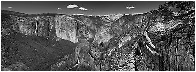 View of West Yosemite Valley. Yosemite National Park, California, USA. (black and white)