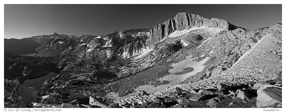 North Peak and Twenty Lakes Basin from McCabe Pass, early morning. Yosemite National Park (black and white)
