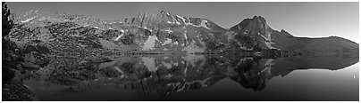 Chain of mountains above upper McCabbe Lake at dusk. Yosemite National Park (Panoramic black and white)