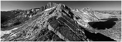North Peak and Upper McCabe Lake from North Ridge. Yosemite National Park, California, USA. (black and white)