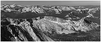 Ragged Peak range, Cathedral Range, and domes from Mount Conness. Yosemite National Park, California, USA. (black and white)