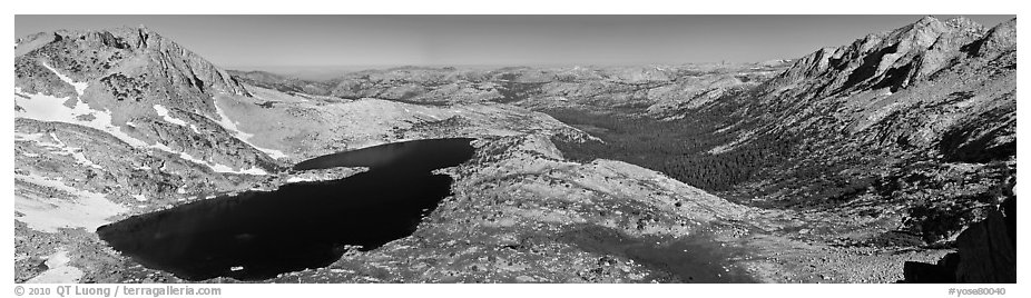 Lake valley from McCabbe Pass. Yosemite National Park (black and white)