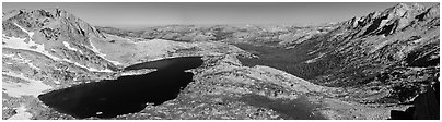 Lake valley from McCabbe Pass. Yosemite National Park (Panoramic black and white)