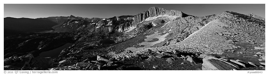 High Sierra scenery with lakes and high peaks. Yosemite National Park (black and white)