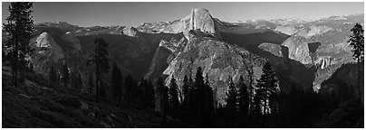 Tenaya Canyon, Half Dome, Nevada Falls, from Washburn Point. Yosemite National Park (Panoramic black and white)