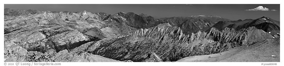 Northern mountains from Mount Conness. Yosemite National Park (black and white)