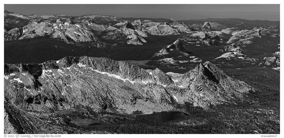 Aerial view of High Yosemite country. Yosemite National Park (black and white)