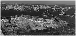 Aerial view of High Yosemite country. Yosemite National Park, California, USA. (black and white)