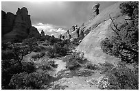 Sandy wash and rocks, Klondike Bluffs. Arches National Park ( black and white)