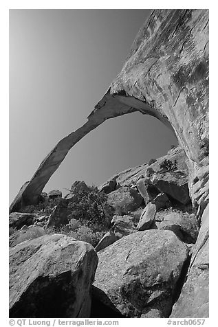 Landscape Arch, morning. Arches National Park (black and white)