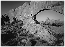 Windows with view of Turret Arch from opening. Arches National Park ( black and white)