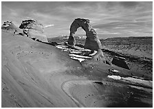 Delicate Arch, winter sunset. Arches National Park, Utah, USA. (black and white)