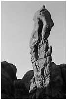 Spire. Arches National Park, Utah, USA. (black and white)