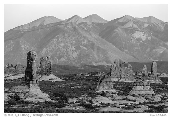 Sandstone pillars and La Sal Mountains. Arches National Park (black and white)