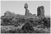 Balanced rock and other rock formations. Arches National Park, Utah, USA. (black and white)