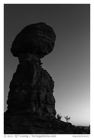 Balanced rock at dusk. Arches National Park (black and white)