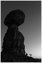 Balanced rock at dusk. Arches National Park, Utah, USA. (black and white)