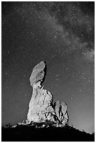 Balanced rock at night. Arches National Park, Utah, USA. (black and white)