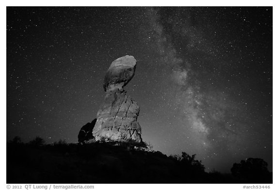 Balanced rock and stars. Arches National Park (black and white)