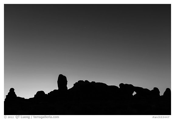 Windows Group silhouette at dawn. Arches National Park (black and white)