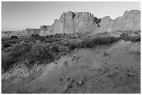 Great Wall at sunrise. Arches National Park, Utah, USA. (black and white)
