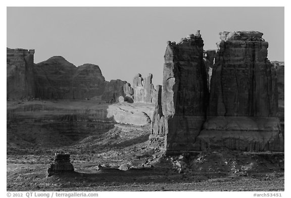 Organ and Courthouse Towers at sunrise. Arches National Park (black and white)