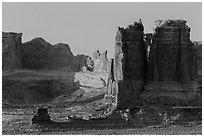 Organ and Courthouse Towers at sunrise. Arches National Park ( black and white)