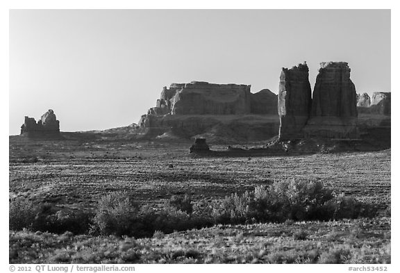 Courthouse Wash and sandstone fins. Arches National Park (black and white)