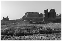 Courthouse Wash and sandstone fins. Arches National Park, Utah, USA. (black and white)