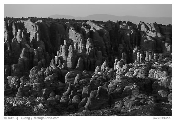 Fiery Furnace fins on hillside. Arches National Park (black and white)