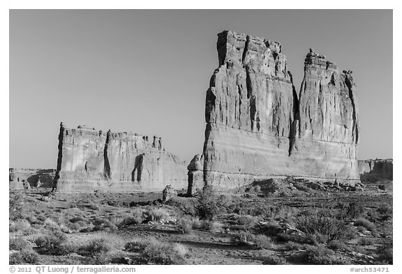 Tower of Babel and Organ at sunrise. Arches National Park (black and white)