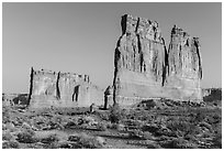 Tower of Babel and Organ at sunrise. Arches National Park ( black and white)