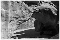 Sand Dune Arch. Arches National Park, Utah, USA. (black and white)
