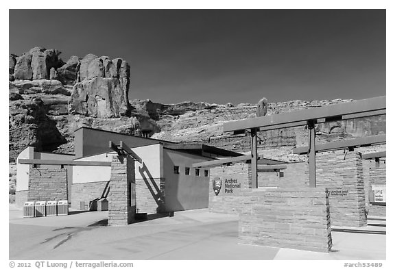 Visitor Center. Arches National Park (black and white)