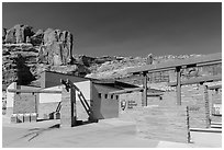 Visitor Center. Arches National Park, Utah, USA. (black and white)