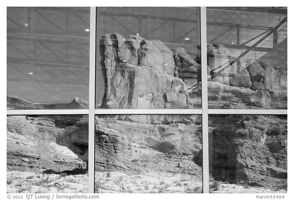 Sandstone walls, Visitor Center window reflexion. Arches National Park (black and white)