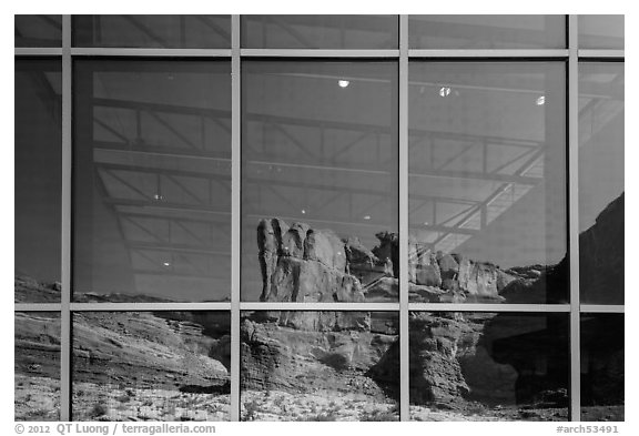 Cliffs, Visitor Center window reflexion. Arches National Park (black and white)