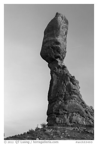 Balanced Rock (size of three school busses). Arches National Park (black and white)
