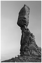Balanced Rock (size of three school busses). Arches National Park, Utah, USA. (black and white)