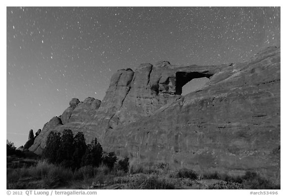 Moonlit Skyline Arch. Arches National Park (black and white)