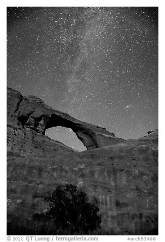 Skyline Arch and Milky Way. Arches National Park (black and white)