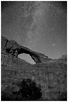 Skyline Arch and Milky Way. Arches National Park, Utah, USA. (black and white)