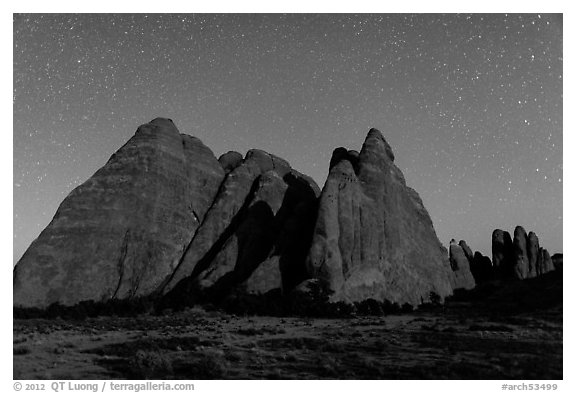 Fins at night with Milky Way. Arches National Park (black and white)
