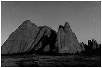 Fins at night with Milky Way. Arches National Park, Utah, USA. (black and white)