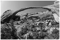 Landscape Arch with fallen rocks. Arches National Park, Utah, USA. (black and white)