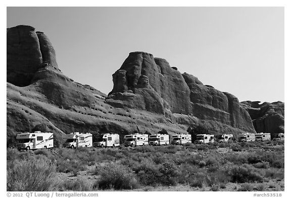 RVs parked at Devils Garden trailhead. Arches National Park (black and white)