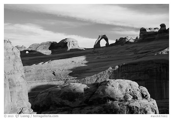Delicate Arch from Upper Delicate Arch Viewpoint. Arches National Park (black and white)