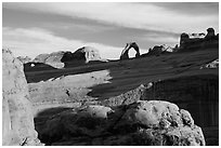 Delicate Arch from Upper Delicate Arch Viewpoint. Arches National Park, Utah, USA. (black and white)